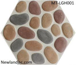 Gạch lát sân vườn lục giác hạt đa sắc lớn MT-LGH001