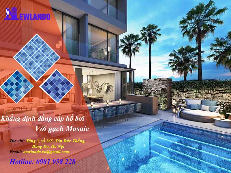 Newlando nhà thầu cung cấp gạch mosaic hồ bơi dự án tại khu nghỉ dưỡng D'evelyn Quảng Nam